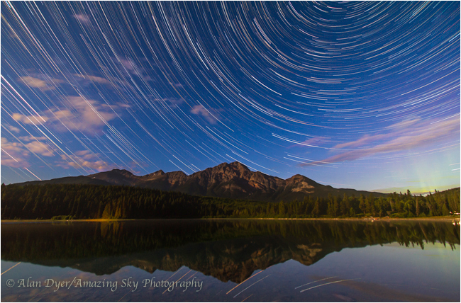Star trails over Patricia Lake, Jasper National Park by Alan Dyer ©
