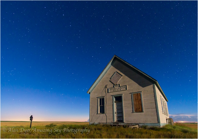 Big Dipper over old school house by Alan Dyer ©