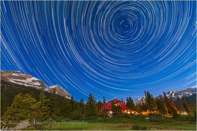 Circumpolar Star Trails over Num-Ti-Jah Lodge at Bow Lake by Alan Dyer ©