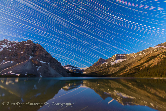 Star Trails over Bow Lake by Alan Dyer ©
