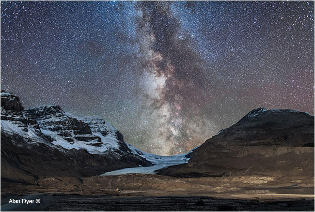 Milky Way over Athabasca Glacier in Jasper National Park, AB by Alan Dyer ©