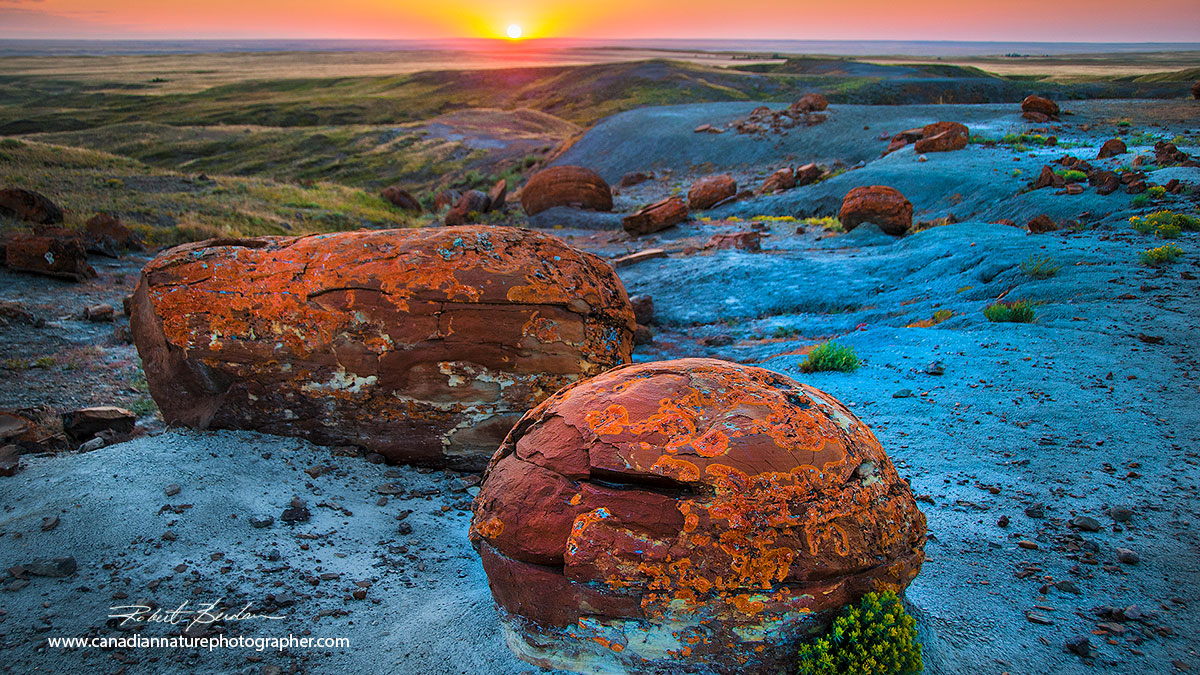 Red Rock Coulee sunset and concretions Robert Berdan ©
