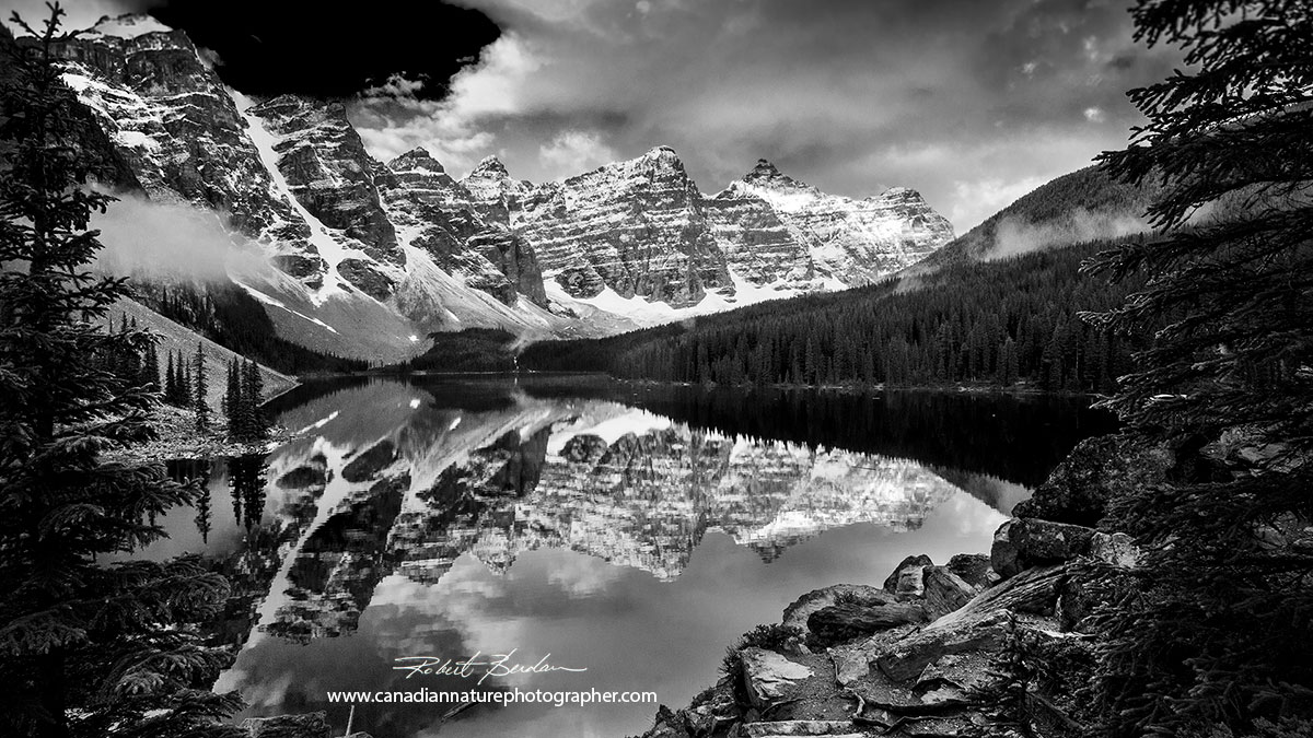 Moraine lake and the ten peaks black and white photo by Robert Berdan ©