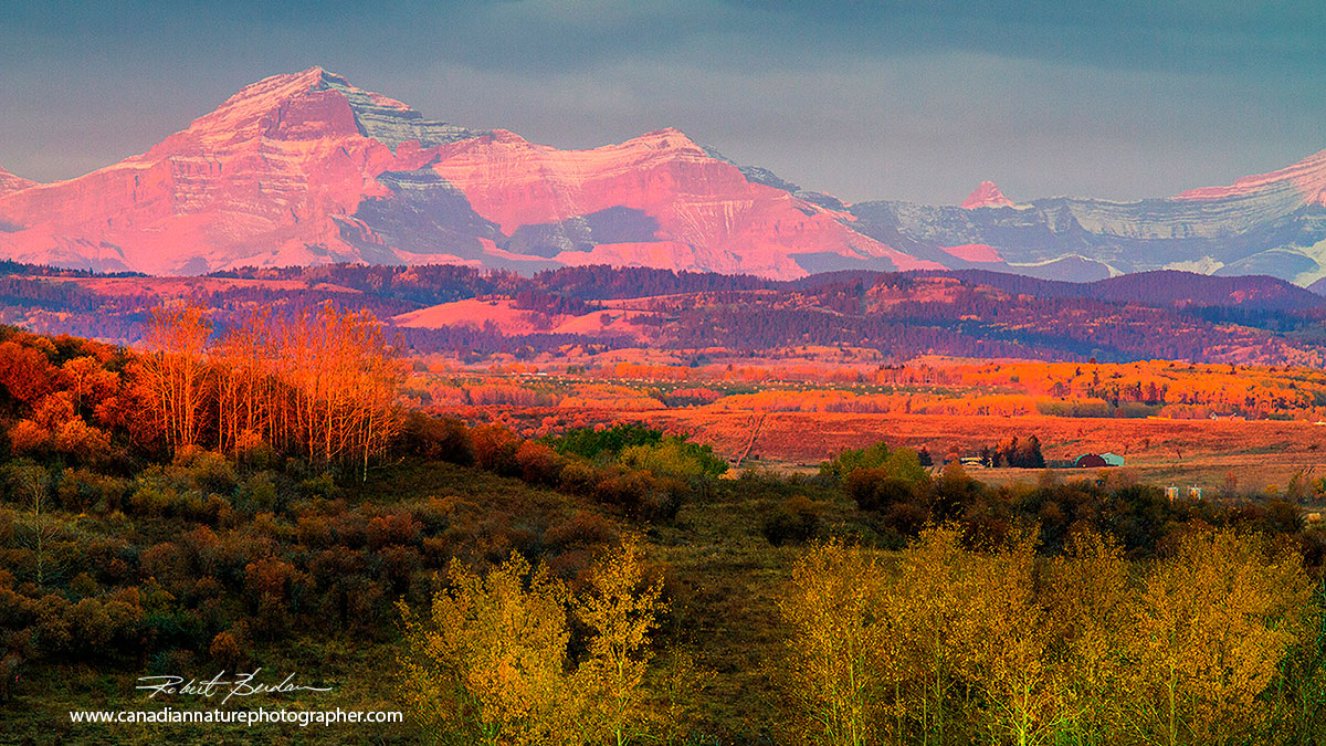 Rocky Mountain foothills at sunrise in autumn by Robert Berdan ©