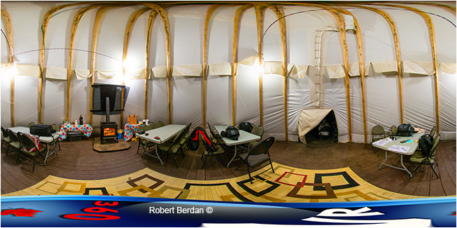Inside teepee at Aurora village panorama by Robert Berdan ©