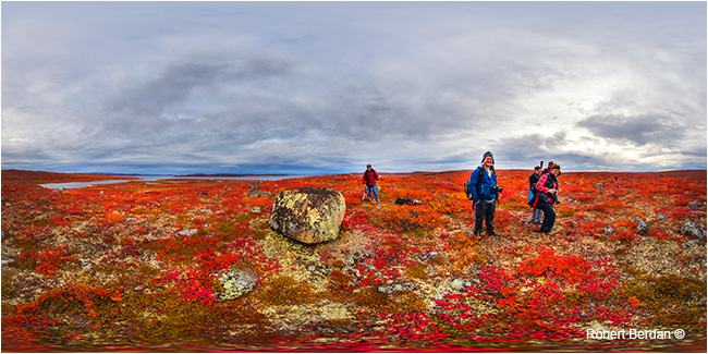 Hiking on the tundra near Peterson's point lake lodge by Robert Berdan ©