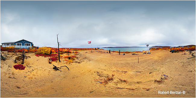 Peterson's point lake lodge panorama on a cloudy day by Robert Berdan ©