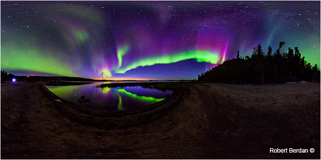 Panorama of aurora borealis over Prelude lake by Robert Berdan ©