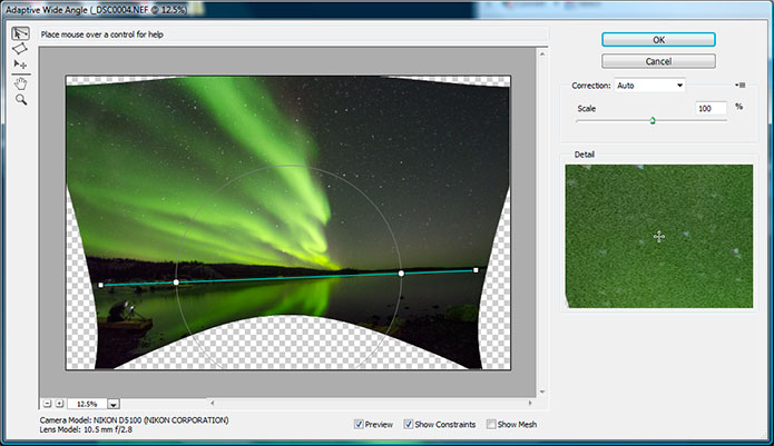 Screen shot of Adobe Photoshop Adaptive wide angle lens feature