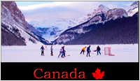 This is Canada - pickup hockey game at Lake Louise by Robert Berdan ©