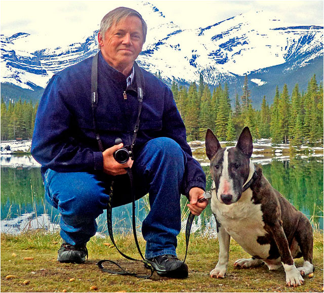 Fred Schact with his dog in the Rockies