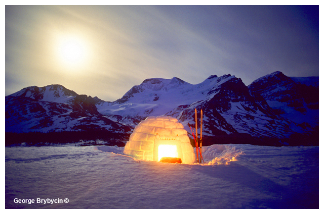 Iglo in front of Mt. Athabasca in Moon light by George Brybycin ©