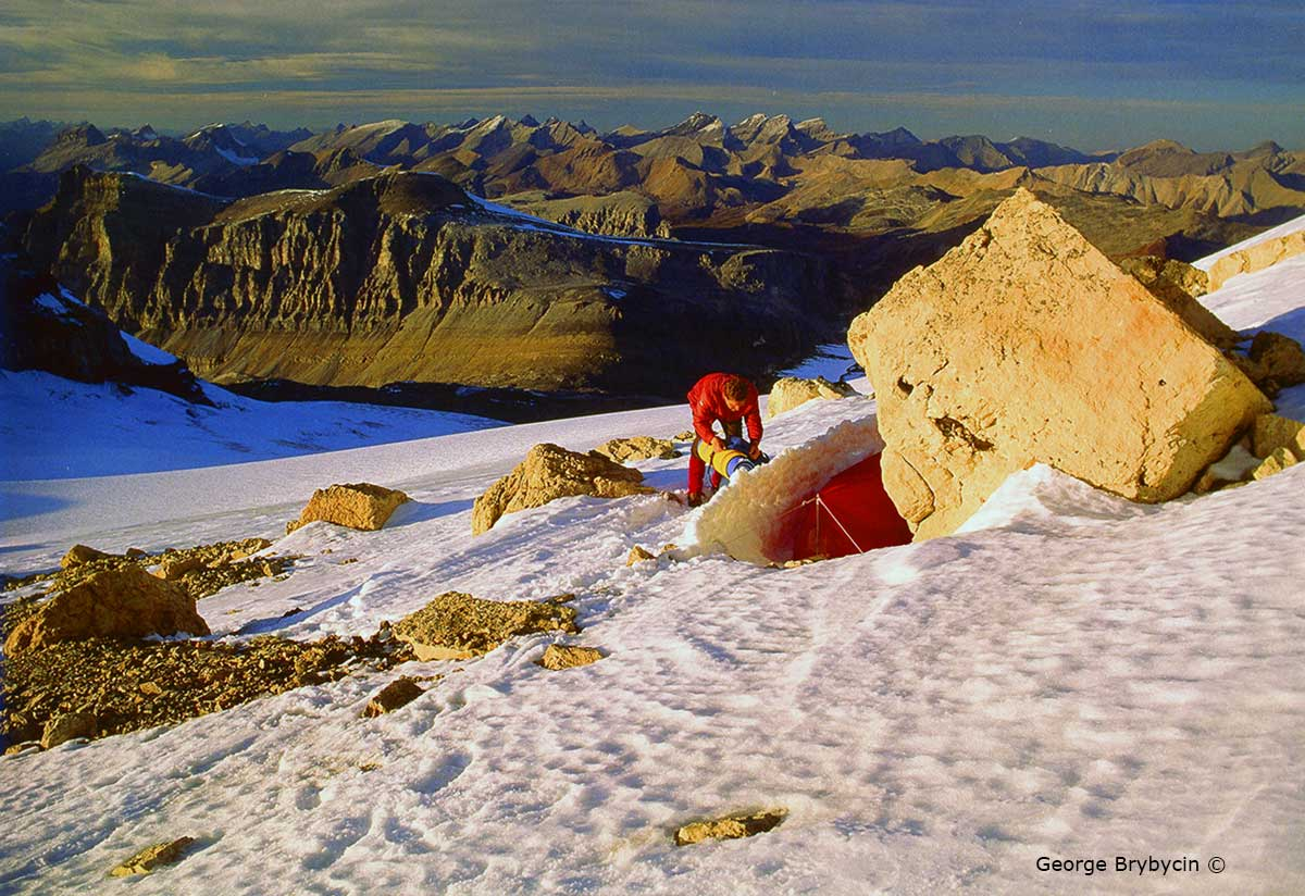 George Bybycin camping just below the summit of Mt. Hector (3394 m).