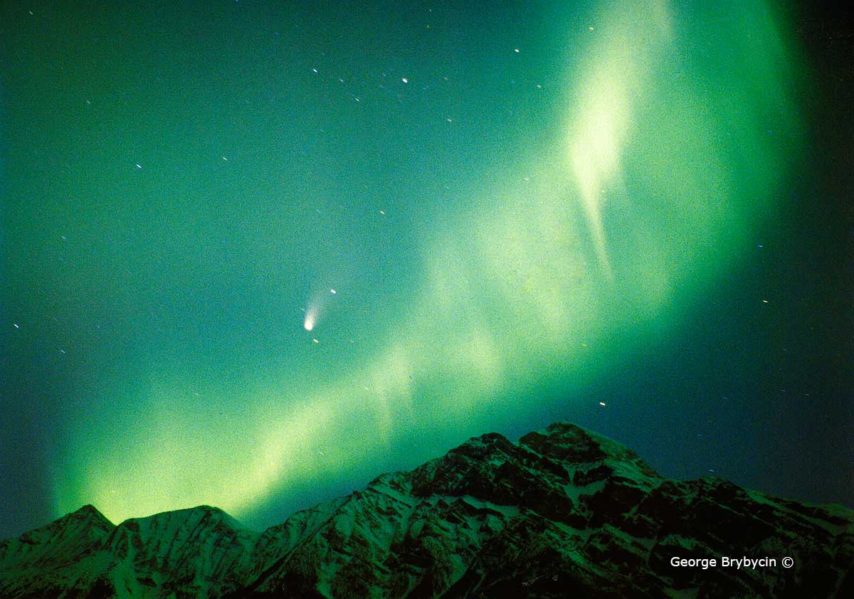 Comet Hale Bopp and the Aurora Borealis (Northern Lights) above Jasper's Pyramid Mountain by George Brybycin ©