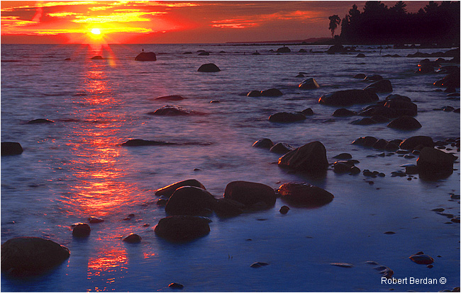 Sunset on Balm Beach Ontario by Robert Berdan