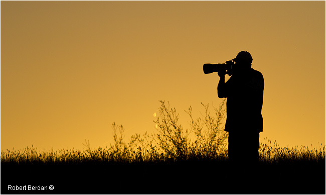 Ian Neilson silhoutte at sunset on the prairies by Robert Berdan ©