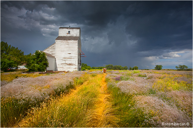 Val Marie Grain elevator and storm by Robert Berdan ©