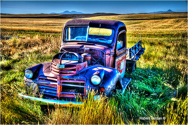 Single tone mapped HDR image of truck on the prairie by Robert Berdan ©
