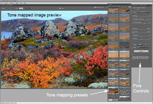 Screen shot of Photomatix software by Robert Berdan ©