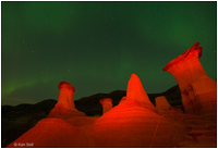 Drumheller Hoodoos, light painting and Aurora by Ken Bell &copy;