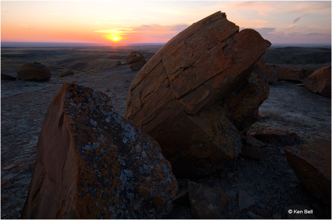 Concretions in Red Rock Coulee at sunset by Ken Bell ©
