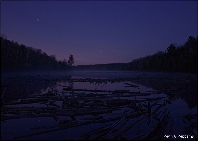 Shooting stars over lake by Kevin A. Pepper ©