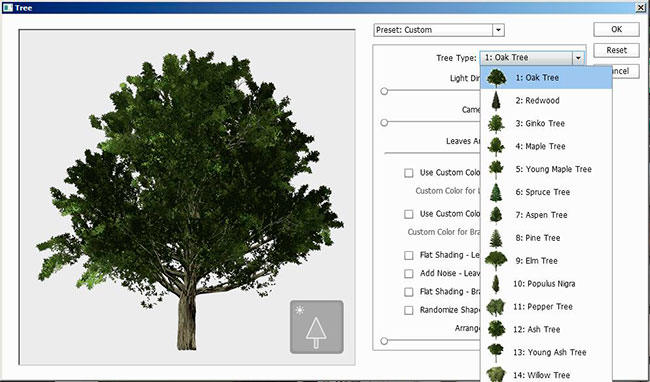 Scripted trees in Adobe Photoshop CC