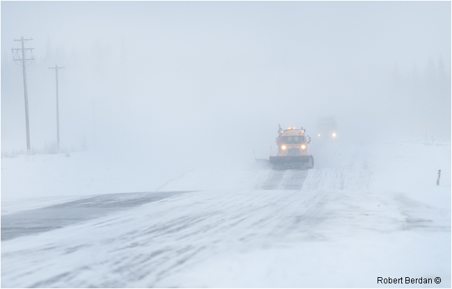 Snow plows on highway 63 in winter by Robert Berdan ©