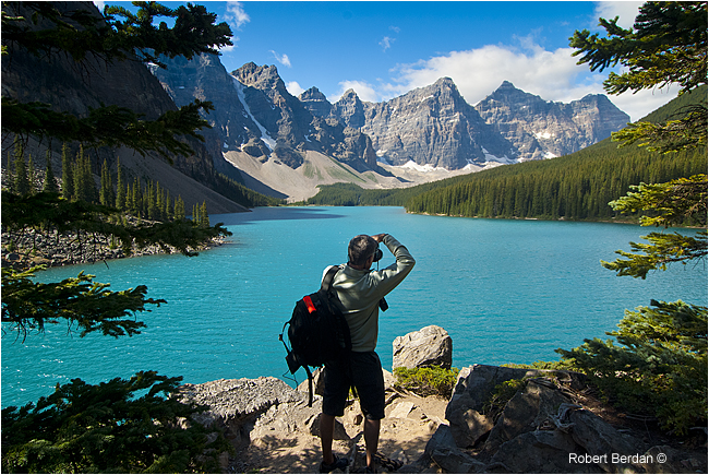 Photographer in mid day Morain Lake by Robert Berdan -