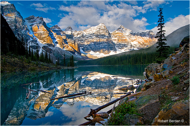 Moraine Lake at sunrise  Banff National Park by Robert Berdan