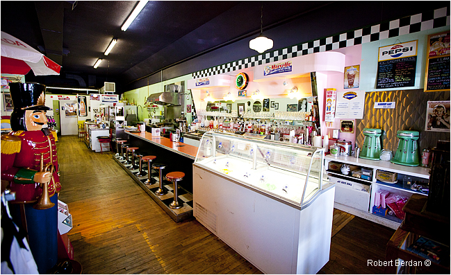 Inside of Marv's Classic Soda Shop in Black Diamond by Robert Berdan ©