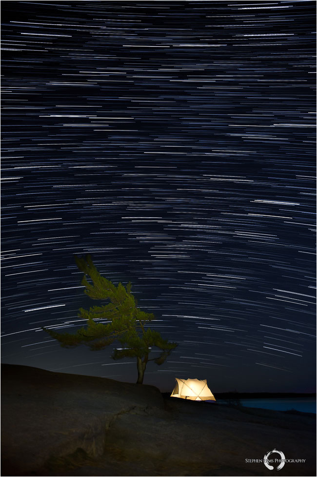Star trails and tent by Stephen Elms ©