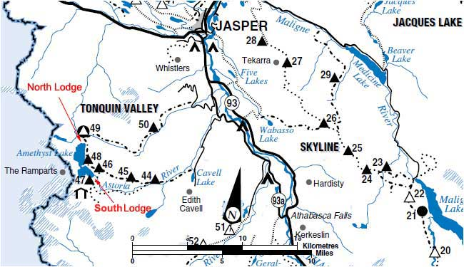 Map of the Tonquin Valley