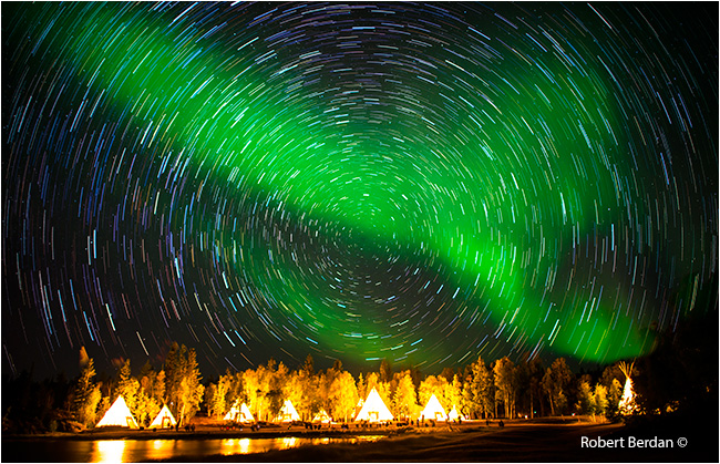 Star trails over Aurora village by Robert Berdan ©