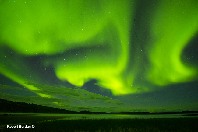 Northern lights over Prelude lake, Prelude lake Territorial Park, by Robert Berdan ©