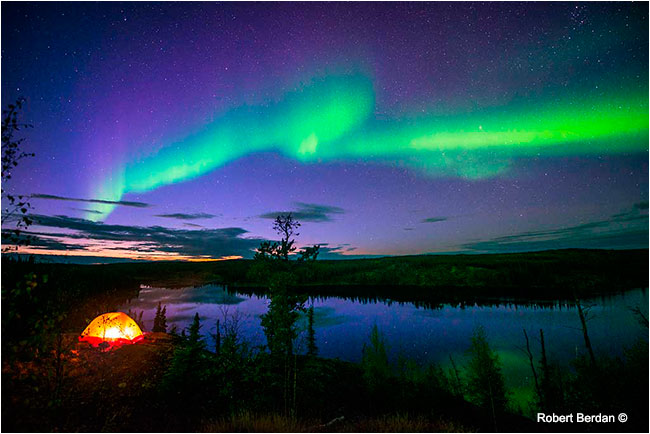 Aurora and tent along Ingraham trail by Robert Berdan ©