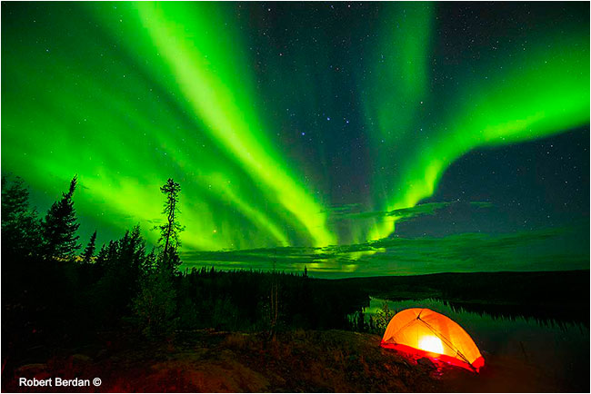 Tent and aurora borealis along Ingraham trail by Robert Berdan ©
