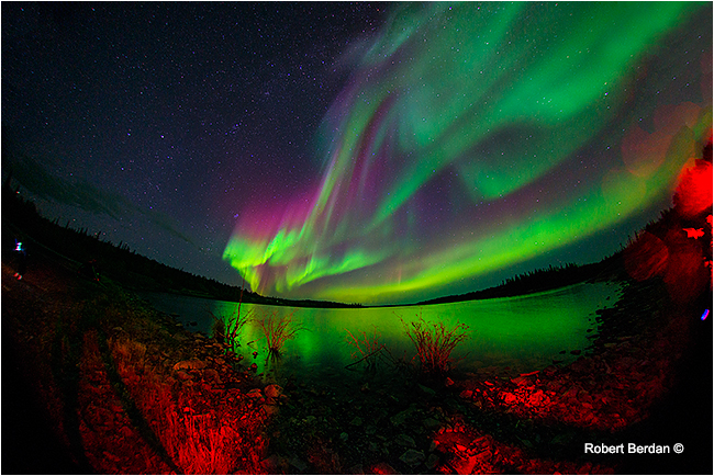 Aurora borealis, northern lights over pontoon lake, North west territories by Robert Berdan ©