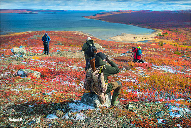 Photographers overlooking Point Lake Northwest territories by Robert Berdan ©