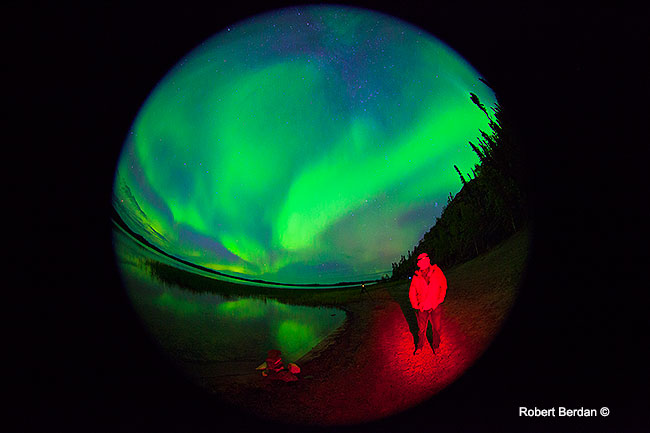 Aurora at Prelude lake taken with fisheye by Robert Berdan ©