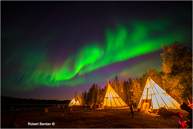 Northern lights over tepees Aurora village by Robert Berdan ©