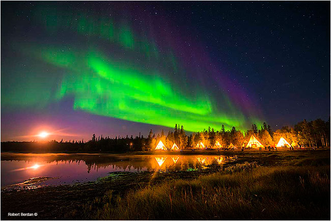 Moonset and aurora borealis over aurora village tepees by Robert Berdan ©