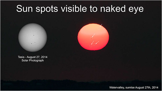 sunspots visible to the nake eye by Robert Berdan ©