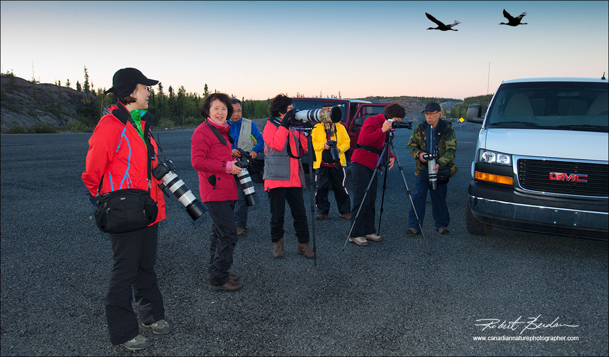 Group of photographers along the Ingraham trail viewing Sandhill Cranes by Robert Berdan  ©
