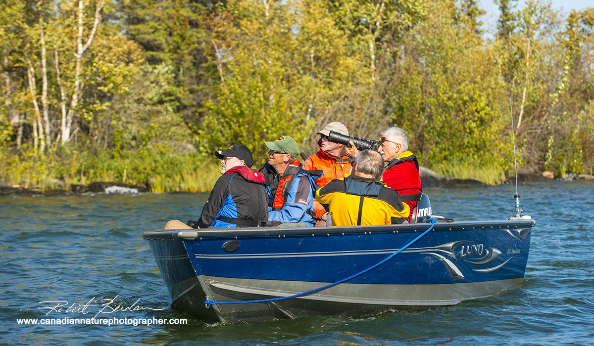 Photographing eagles from a boat Yellowknife Robert Berdan ©