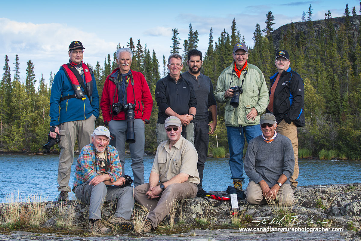 Guests and fishing guides pose for a group shot after the fish fry Yellowknife Robert Berdan ©
