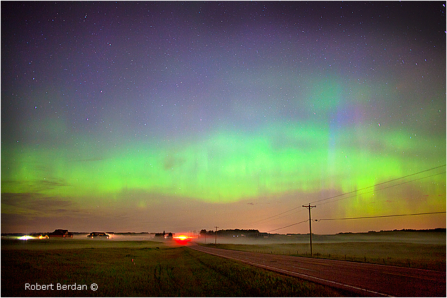 Aurora and fog Lochend road north of Calgary by Robert Berdan ©