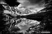 Black and white photo of Moraine Lake and Ten Peaks Banff National Park by Robert Berdan