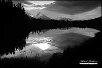 Black and white photo of spillway lakes in Kananaskis provincial park, Alberta by Robert Berdan