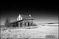 Black and white photo of Prairie homestead Manitoba by Robert Berdan